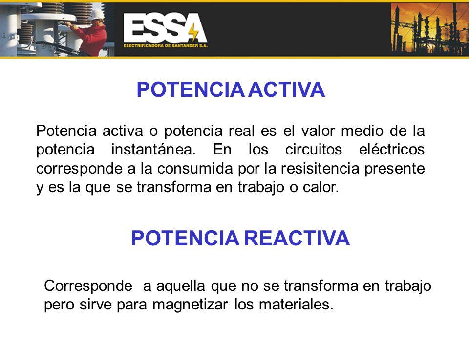 POTENCIA ACTIVA Potencia activa o potencia real es el valor medio de la potencia instantánea. En los circuitos eléctricos corresponde a la consumida p