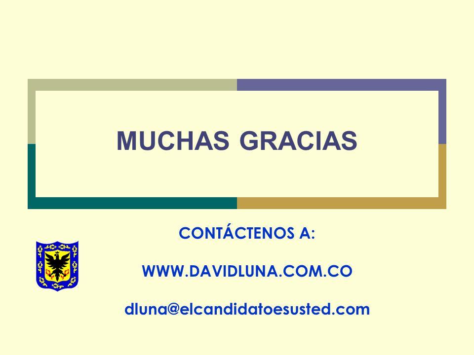 MUCHAS GRACIAS CONTÁCTENOS A: WWW.DAVIDLUNA.COM.CO dluna@elcandidatoesusted.com