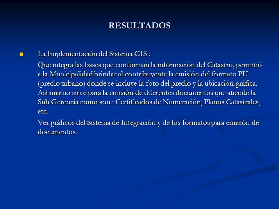 La Implementación del Sistema GIS : La Implementación del Sistema GIS : Que integra las bases que conforman la información del Catastro, permitió a la