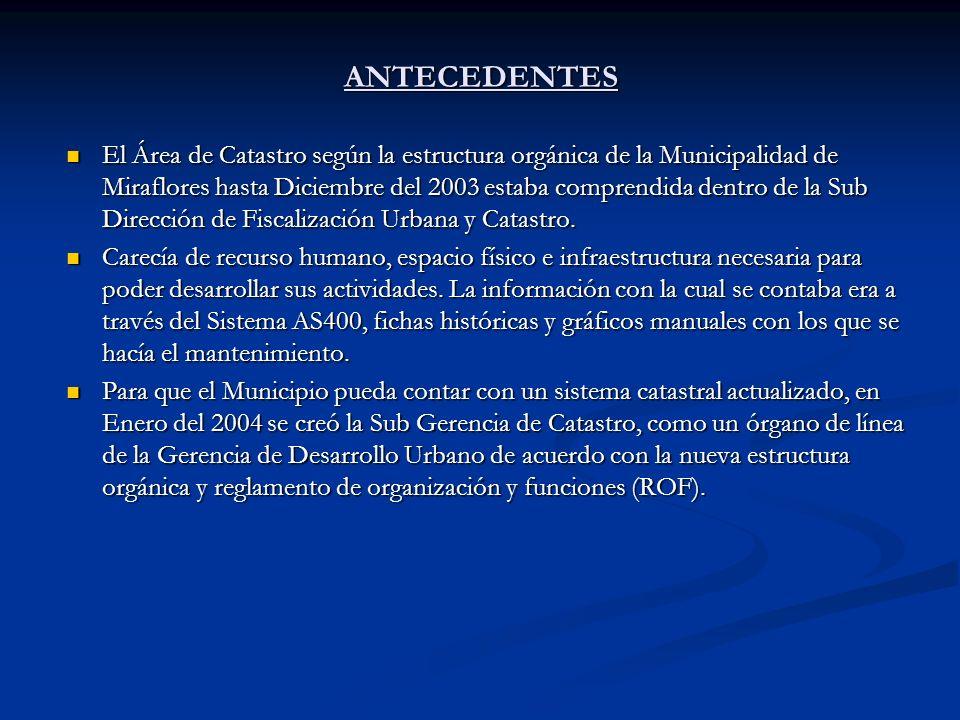 ANTECEDENTES El Área de Catastro según la estructura orgánica de la Municipalidad de Miraflores hasta Diciembre del 2003 estaba comprendida dentro de