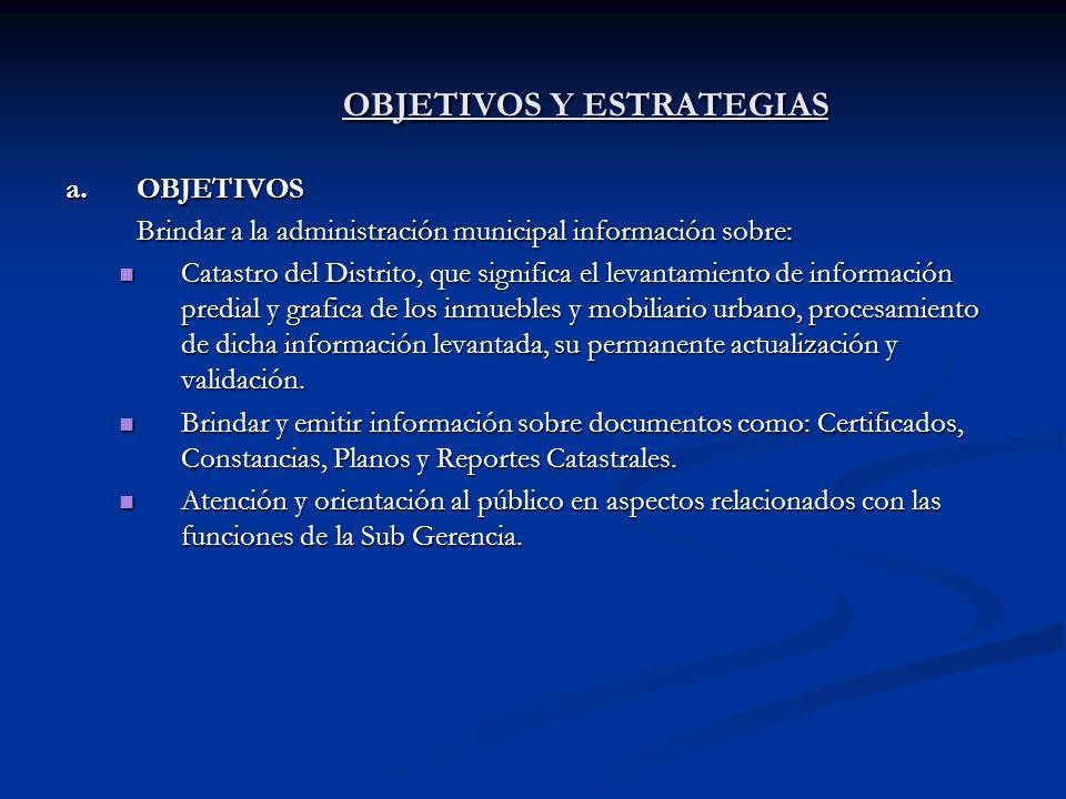 OBJETIVOS Y ESTRATEGIAS a.OBJETIVOS Brindar a la administración municipal información sobre: Catastro del Distrito, que significa el levantamiento de