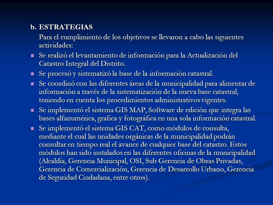 CUADRO 1: METAS DE LA ACTUALIZACION DEL CATASTRO - 2004 NºDESCRIPCIONUNIDAD META 2004 PROGRAMADAEJECUTADA META INICIAL AMPL.TOTAL 1 Fichas Catastrales (Base alfanumérica) Unidad Catastral 16,00038,99754,99754,997 2 Planos Catastrales (Base Gráfica) Lotes5,0006,47011,47011,470 3 Planos Mobiliario Urbano (Base Gráfica) Manzanas470245715715 4 Fotos de predios o lotes (Base Fotográfica) Lotes6,0005,40011,47011,470 TOTAL Producto Integr.
