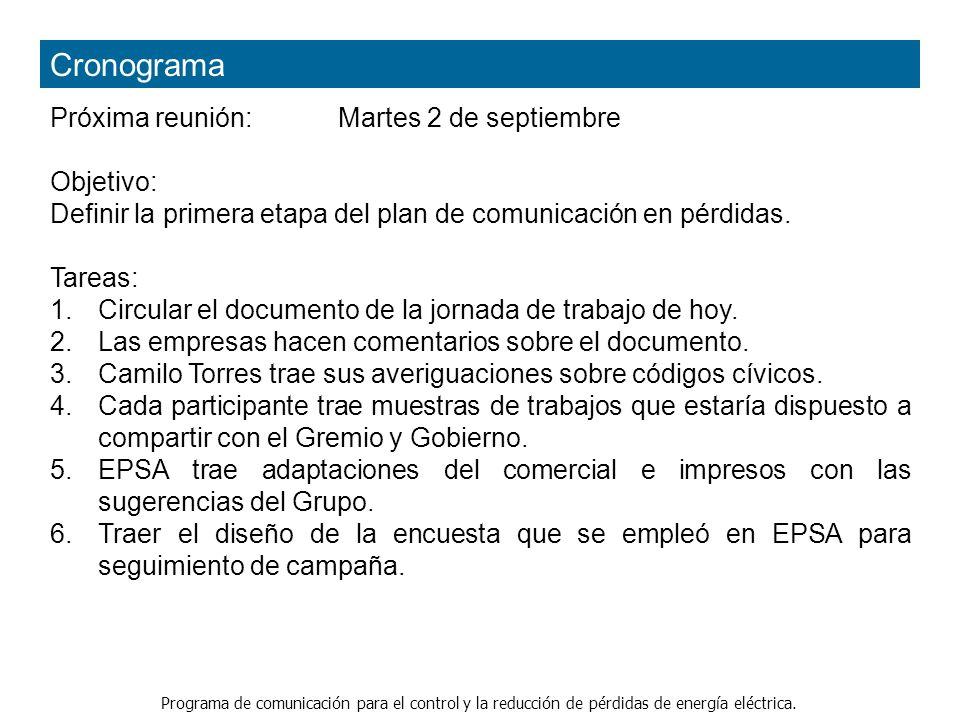 Programa de comunicación para el control y la reducción de pérdidas de energía eléctrica. Cronograma Próxima reunión: Martes 2 de septiembre Objetivo: