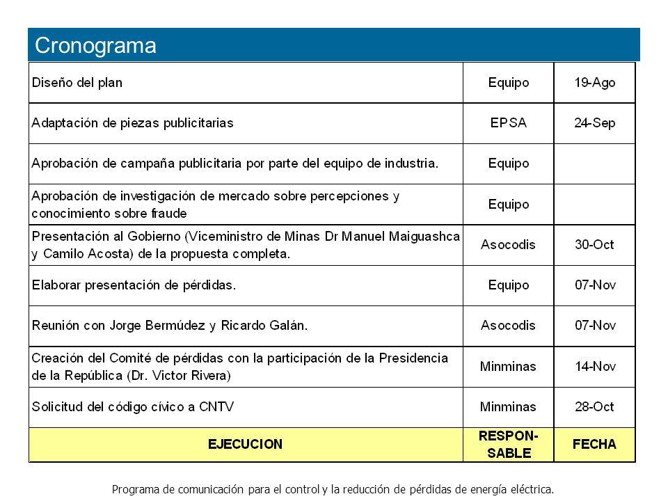 Programa de comunicación para el control y la reducción de pérdidas de energía eléctrica. Cronograma