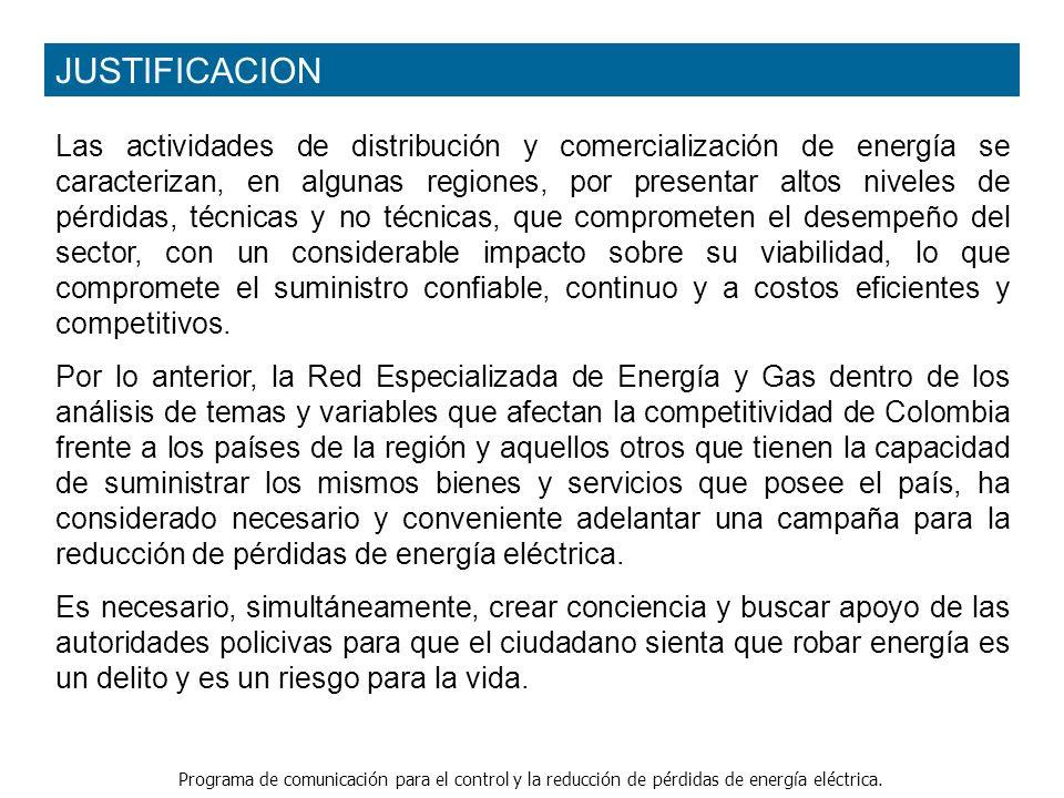 Programa de comunicación para el control y la reducción de pérdidas de energía eléctrica. Las actividades de distribución y comercialización de energí