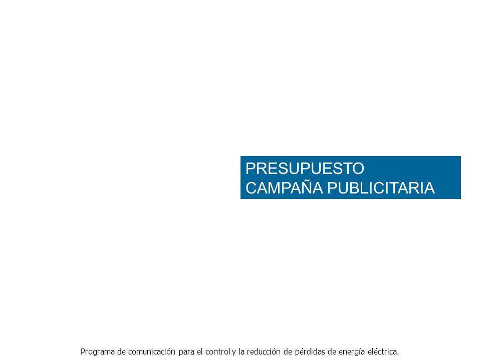 Programa de comunicación para el control y la reducción de pérdidas de energía eléctrica. PRESUPUESTO CAMPAÑA PUBLICITARIA