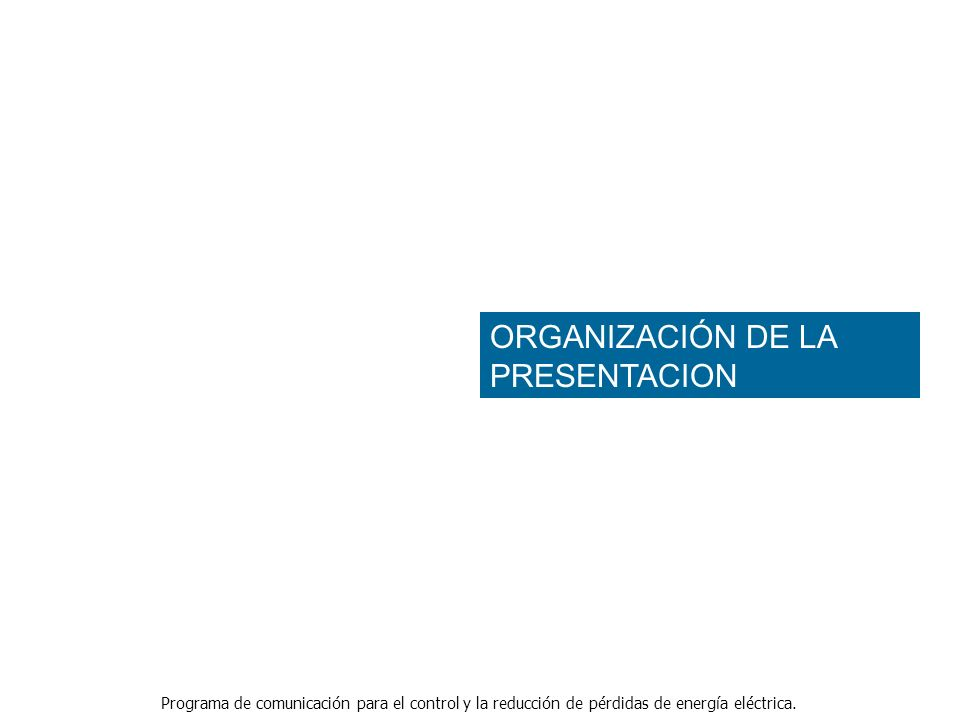 ORGANIZACIÓN DE LA PRESENTACION