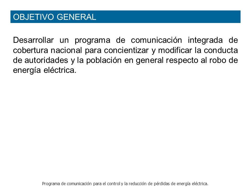 Programa de comunicación para el control y la reducción de pérdidas de energía eléctrica. Desarrollar un programa de comunicación integrada de cobertu