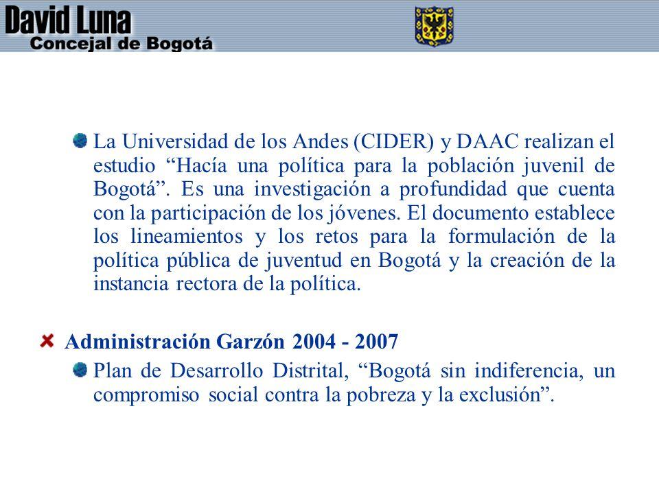 La Universidad de los Andes (CIDER) y DAAC realizan el estudio Hacía una política para la población juvenil de Bogotá.