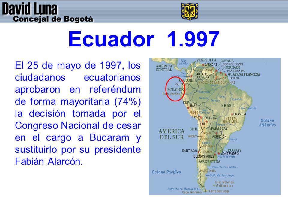 Ecuador 1.997 El 25 de mayo de 1997, los ciudadanos ecuatorianos aprobaron en referéndum de forma mayoritaria (74%) la decisión tomada por el Congreso