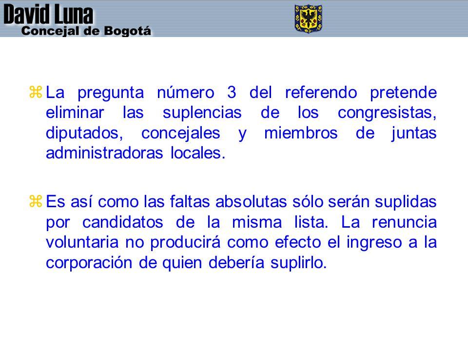zLa pregunta número 3 del referendo pretende eliminar las suplencias de los congresistas, diputados, concejales y miembros de juntas administradoras l