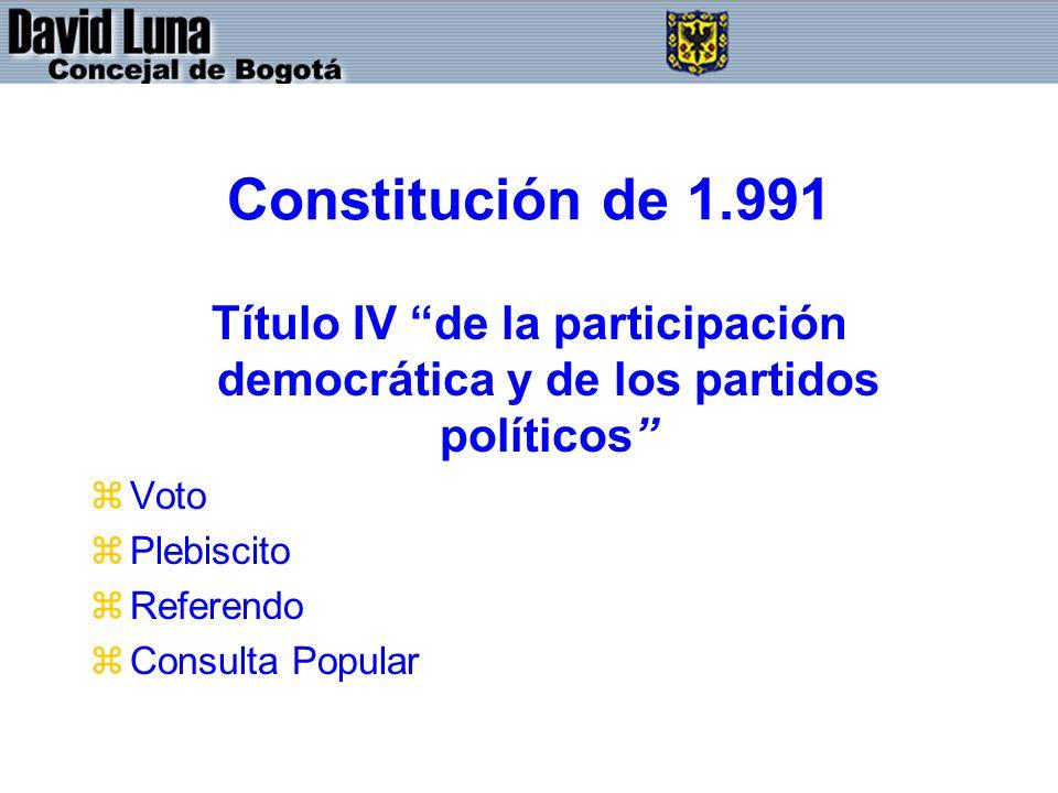 Constitución de 1.991 Título IV de la participación democrática y de los partidos políticos zVoto zPlebiscito zReferendo zConsulta Popular