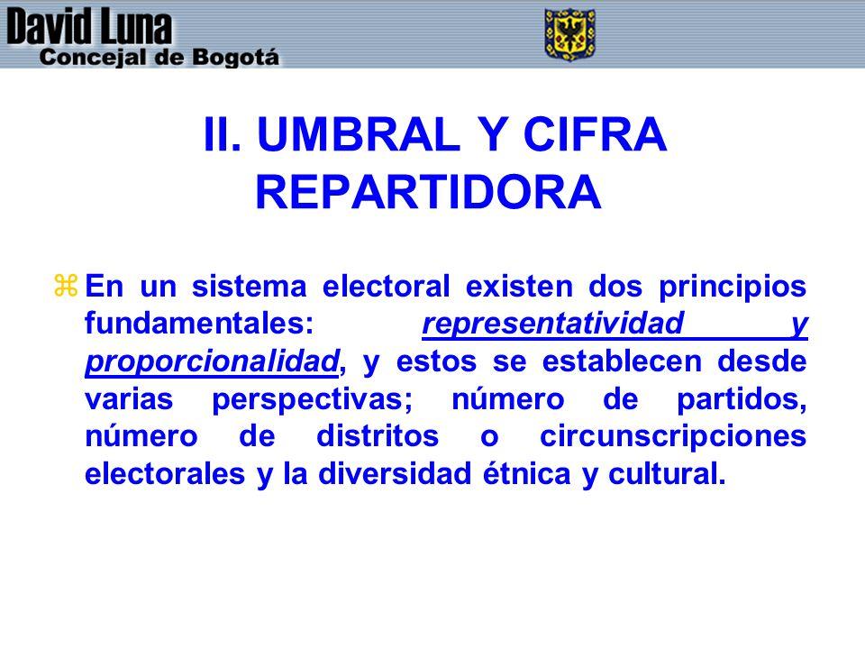 II. UMBRAL Y CIFRA REPARTIDORA zEn un sistema electoral existen dos principios fundamentales: representatividad y proporcionalidad, y estos se estable
