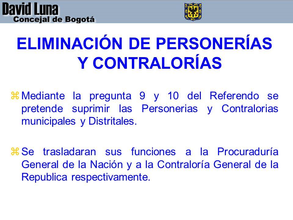 ELIMINACIÓN DE PERSONERÍAS Y CONTRALORÍAS zMediante la pregunta 9 y 10 del Referendo se pretende suprimir las Personerias y Contralorias municipales y