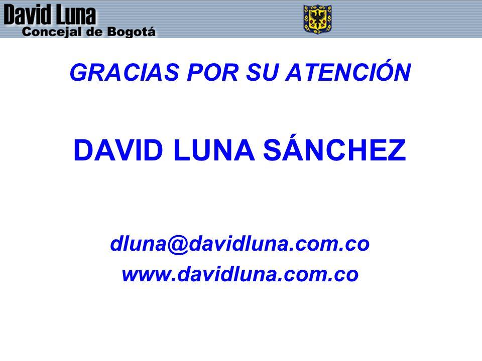 GRACIAS POR SU ATENCIÓN DAVID LUNA SÁNCHEZ dluna@davidluna.com.co www.davidluna.com.co