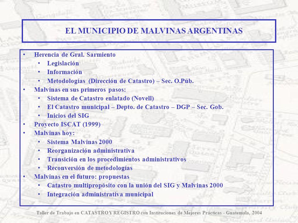 Herencia de Gral. Sarmiento Legislación Información Metodologías (Dirección de Catastro) – Sec. O.Púb. Malvinas en sus primeros pasos: Sistema de Cata