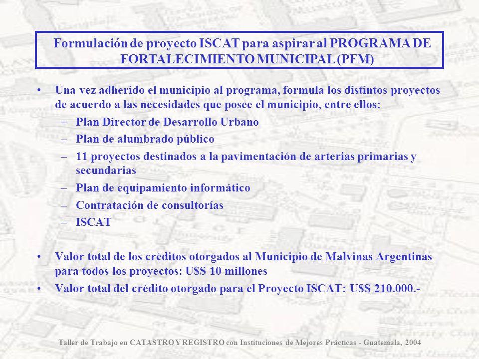Una vez adherido el municipio al programa, formula los distintos proyectos de acuerdo a las necesidades que posee el municipio, entre ellos: –Plan Dir