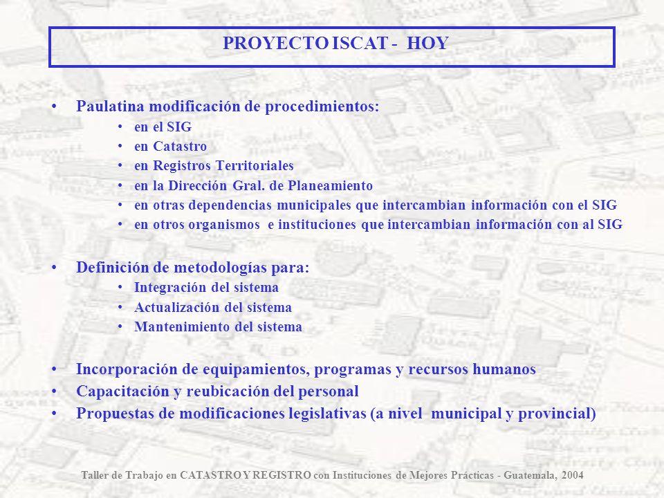 Paulatina modificación de procedimientos: en el SIG en Catastro en Registros Territoriales en la Dirección Gral. de Planeamiento en otras dependencias