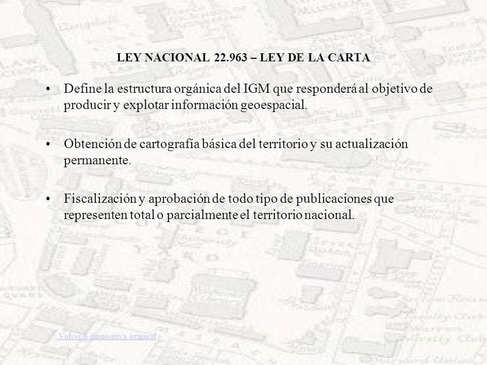 LEY NACIONAL 22.963 – LEY DE LA CARTA Define la estructura orgánica del IGM que responderá al objetivo de producir y explotar información geoespacial.