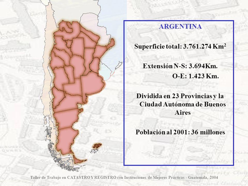 Provincia de BUENOS AIRES Superficie total: 307.571 Km 2 Conurbano : 3.680 Km 2 Dividida en 134 Partidos Población al 2001: 13.827.203 hab.