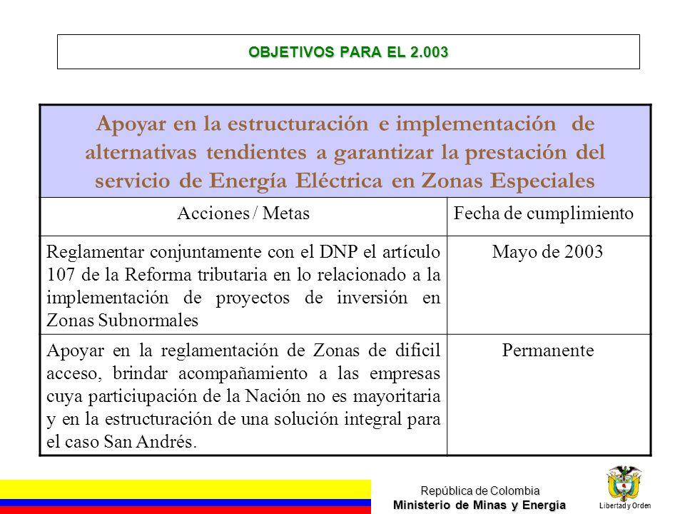República de Colombia Ministerio de Minas y Energía Libertad y Orden OBJETIVOS PARA EL 2.003 Apoyar en la estructuración e implementación de alternati
