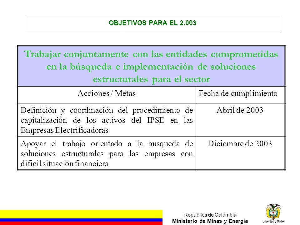 República de Colombia Ministerio de Minas y Energía Libertad y Orden OBJETIVOS PARA EL 2.003 Trabajar conjuntamente con las entidades comprometidas en
