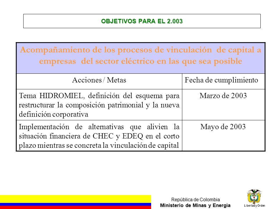 República de Colombia Ministerio de Minas y Energía Libertad y Orden OBJETIVOS PARA EL 2.003 Acompañamiento de los procesos de vinculación de capital