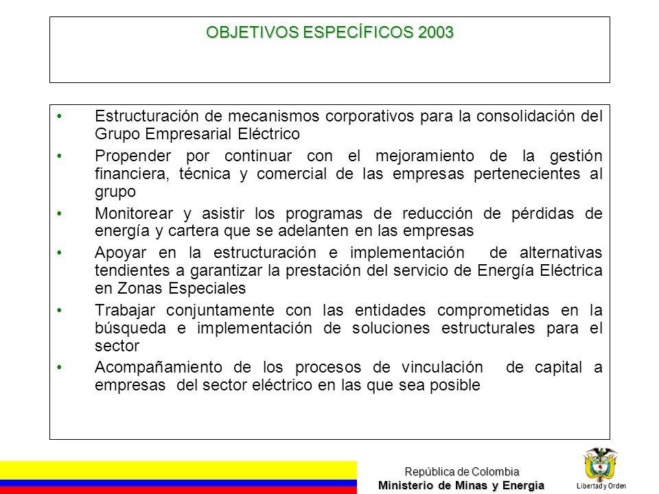 República de Colombia Ministerio de Minas y Energía Libertad y Orden OBJETIVOS ESPECÍFICOS 2003 Estructuración de mecanismos corporativos para la cons