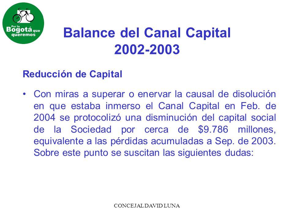 CONCEJAL DAVID LUNA Balance del Canal Capital 2002-2003 1.¿Esta operación es legalmente lícita.