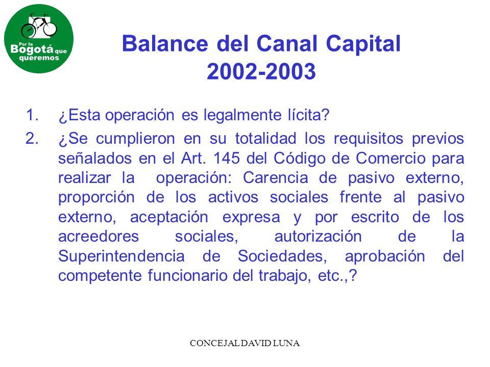 CONCEJAL DAVID LUNA Balance del Canal Capital 2002-2003 3.¿Cómo se garantiza la defensa de los intereses de terceros ante una eventual insolvencia de Canal Capital.