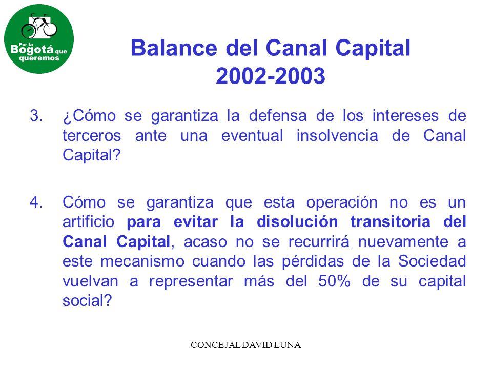 CONCEJAL DAVID LUNA Balance del Canal Capital 2002-2003 3.¿Cómo se garantiza la defensa de los intereses de terceros ante una eventual insolvencia de
