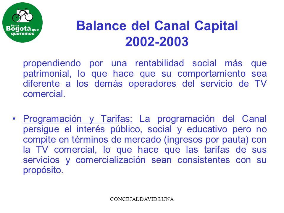 CONCEJAL DAVID LUNA Balance del Canal Capital 2002-2003 propendiendo por una rentabilidad social más que patrimonial, lo que hace que su comportamiento sea diferente a los demás operadores del servicio de TV comercial.