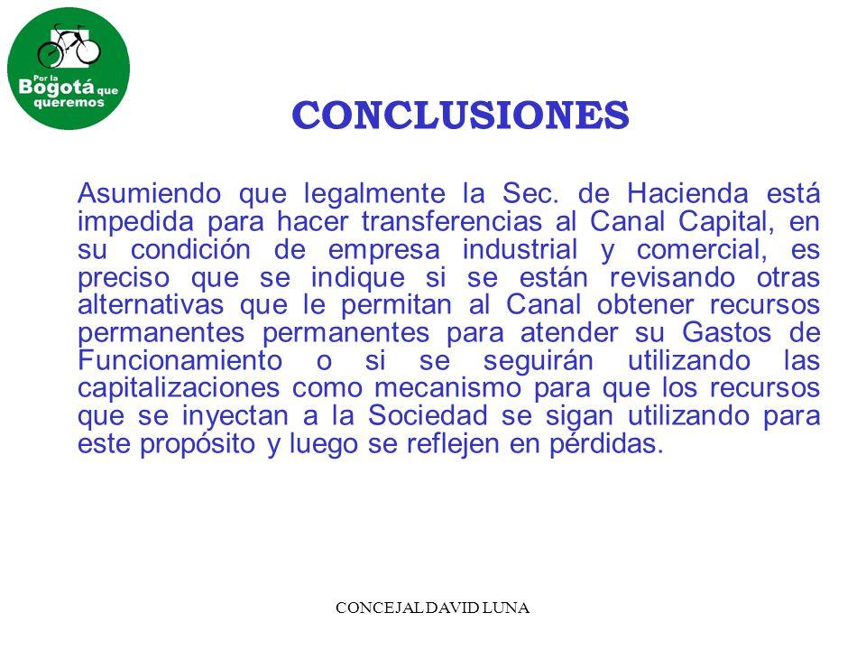 CONCEJAL DAVID LUNA CONCLUSIONES Revisado el proyecto del nuevo Plan de Desarrollo no se hace evidente la prioridad que se le va a dar al Canal Capital dentro de las políticas educativas, culturales y sociales de esta Administración.
