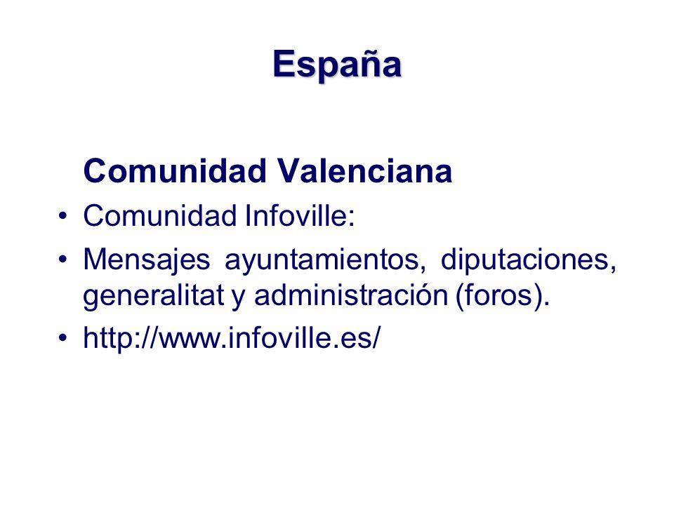 España Comunidad Valenciana Comunidad Infoville: Mensajes ayuntamientos, diputaciones, generalitat y administración (foros).