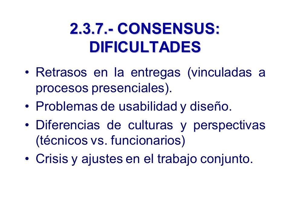2.3.7.- CONSENSUS: DIFICULTADES Retrasos en la entregas (vinculadas a procesos presenciales).