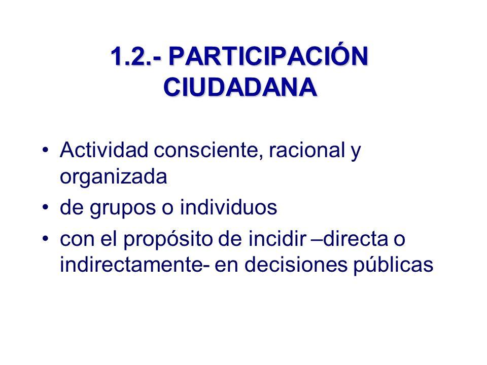 1.2.- PARTICIPACIÓN CIUDADANA Actividad consciente, racional y organizada de grupos o individuos con el propósito de incidir –directa o indirectamente- en decisiones públicas