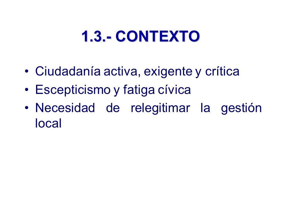 1.3.- CONTEXTO Ciudadanía activa, exigente y crítica Escepticismo y fatiga cívica Necesidad de relegitimar la gestión local
