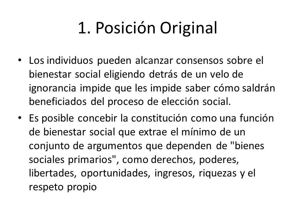 1. Posición Original Los individuos pueden alcanzar consensos sobre el bienestar social eligiendo detrás de un velo de ignorancia impide que les impid