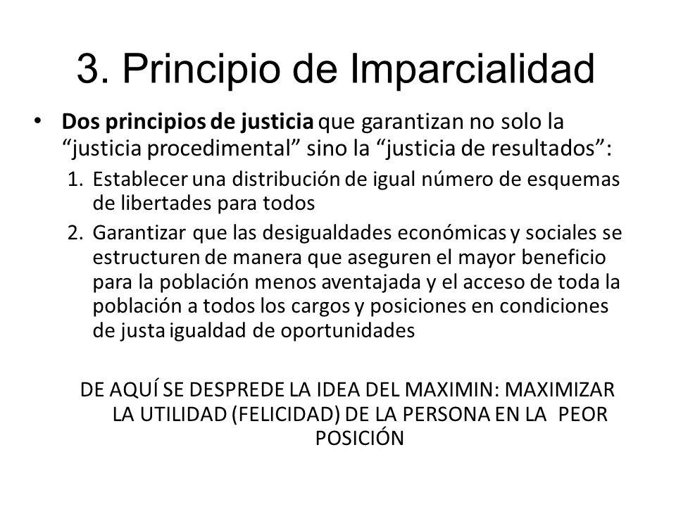 Dos principios de justicia que garantizan no solo la justicia procedimental sino la justicia de resultados: 1.Establecer una distribución de igual núm