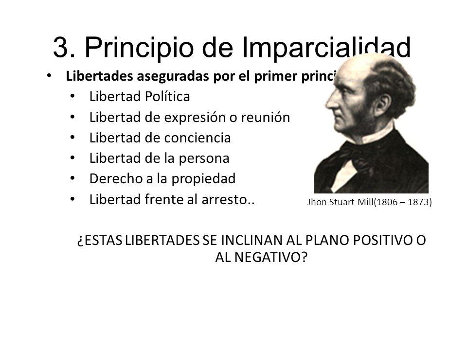 3. Principio de Imparcialidad Libertades aseguradas por el primer principio: Libertad Política Libertad de expresión o reunión Libertad de conciencia