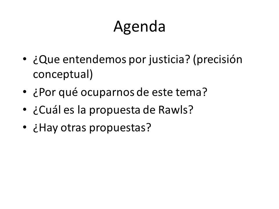 Agenda ¿Que entendemos por justicia? (precisión conceptual) ¿Por qué ocuparnos de este tema? ¿Cuál es la propuesta de Rawls? ¿Hay otras propuestas?