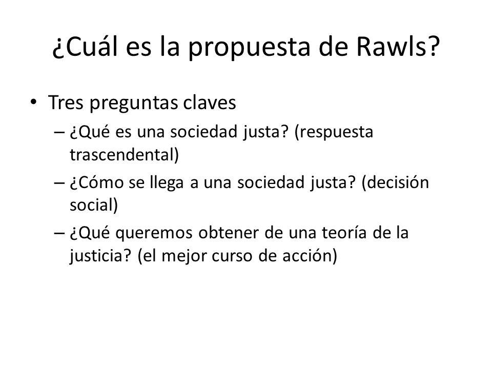 ¿Cuál es la propuesta de Rawls? Tres preguntas claves – ¿Qué es una sociedad justa? (respuesta trascendental) – ¿Cómo se llega a una sociedad justa? (