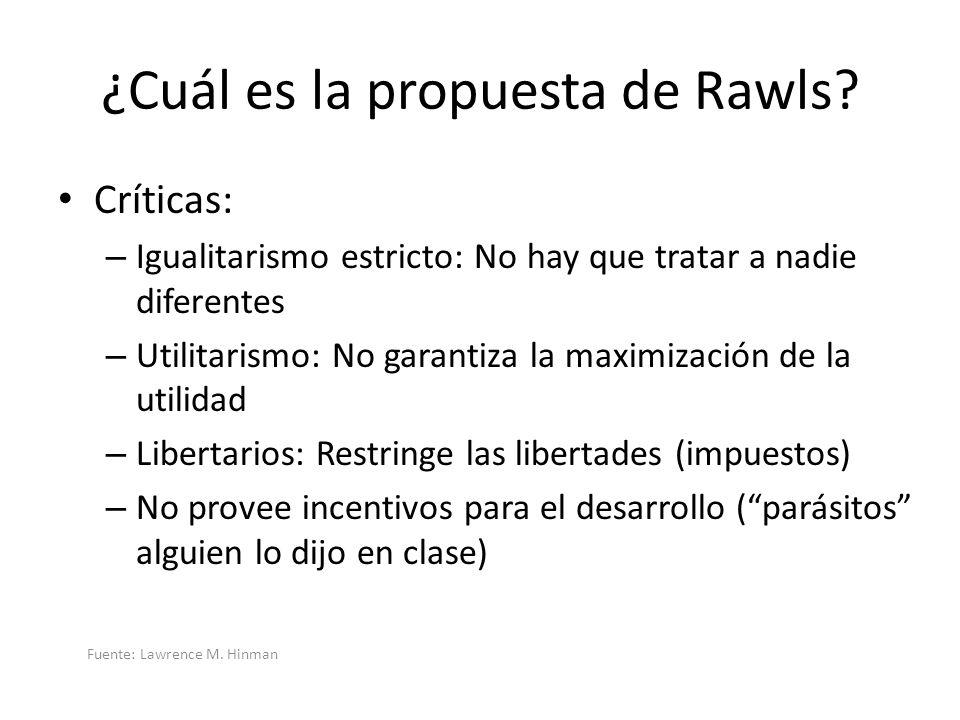 ¿Cuál es la propuesta de Rawls? Críticas: – Igualitarismo estricto: No hay que tratar a nadie diferentes – Utilitarismo: No garantiza la maximización