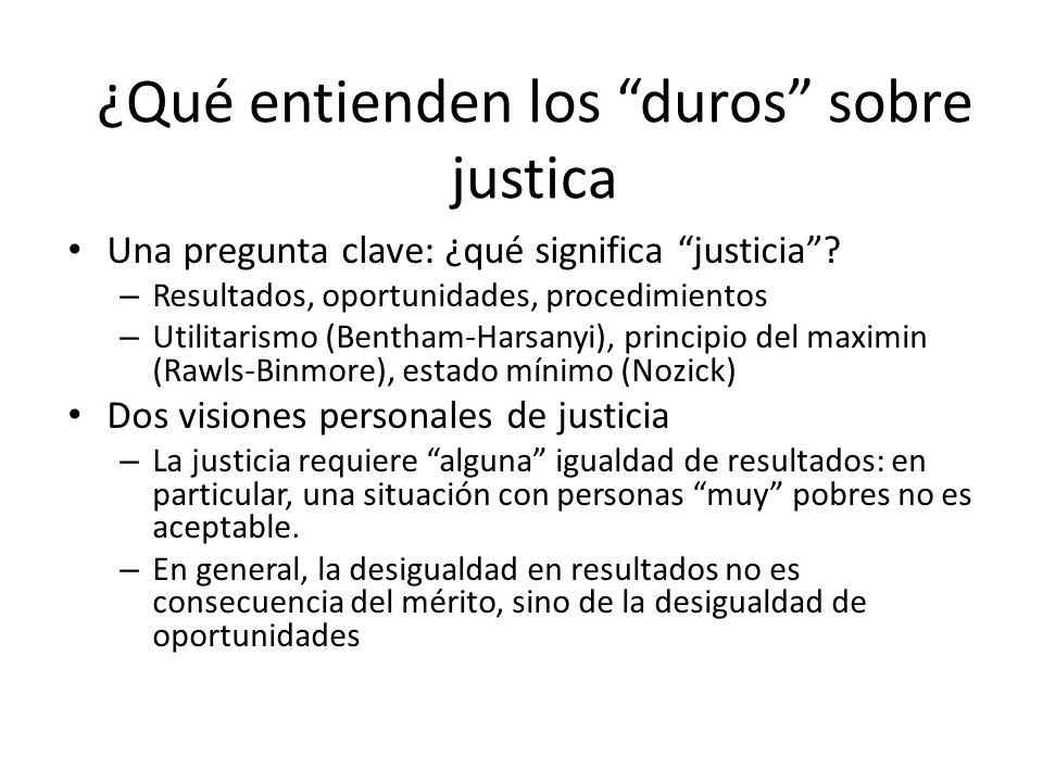 ¿Qué entienden los duros sobre justica Una pregunta clave: ¿qué significa justicia? – Resultados, oportunidades, procedimientos – Utilitarismo (Bentha
