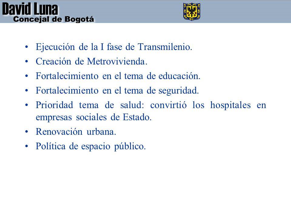 Ejecución de la I fase de Transmilenio. Creación de Metrovivienda. Fortalecimiento en el tema de educación. Fortalecimiento en el tema de seguridad. P