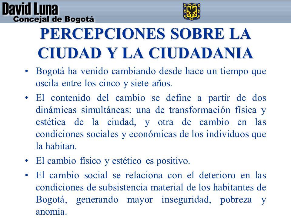 PERCEPCIONES SOBRE LA CIUDAD Y LA CIUDADANIA Bogotá ha venido cambiando desde hace un tiempo que oscila entre los cinco y siete años. El contenido del