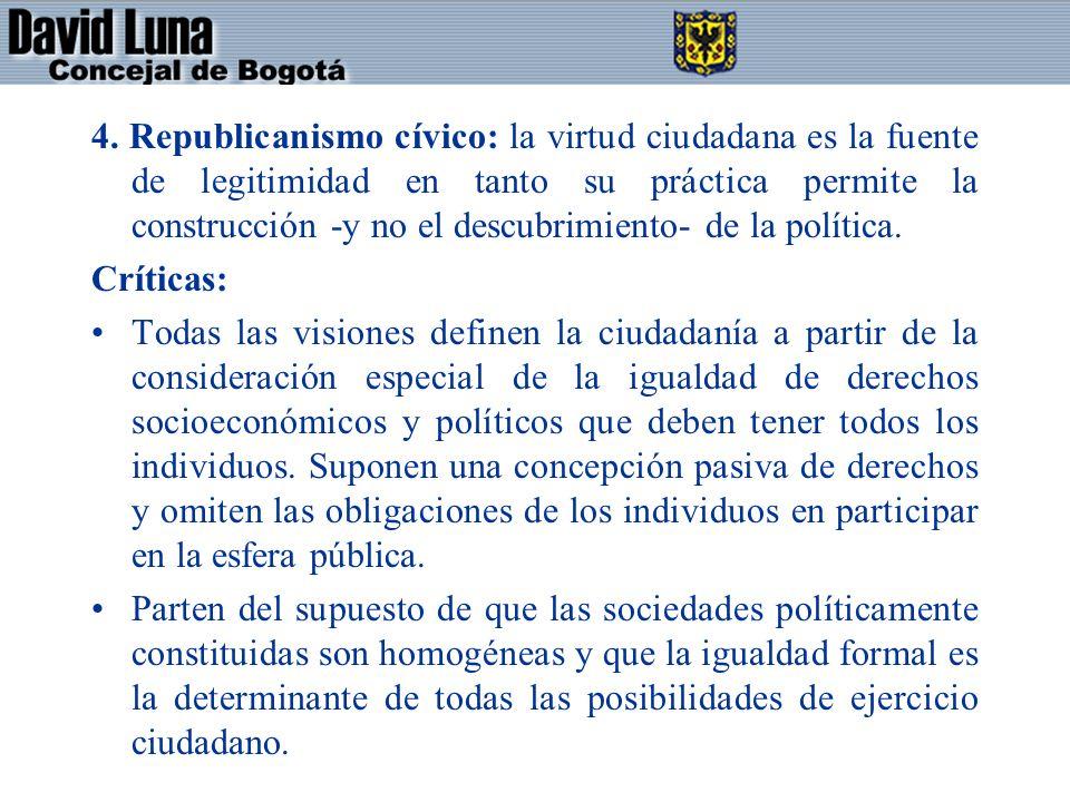 4. Republicanismo cívico: la virtud ciudadana es la fuente de legitimidad en tanto su práctica permite la construcción -y no el descubrimiento- de la