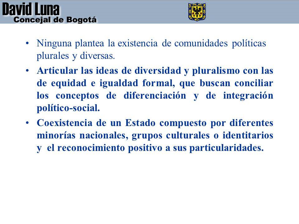 Ninguna plantea la existencia de comunidades políticas plurales y diversas. Articular las ideas de diversidad y pluralismo con las de equidad e iguald