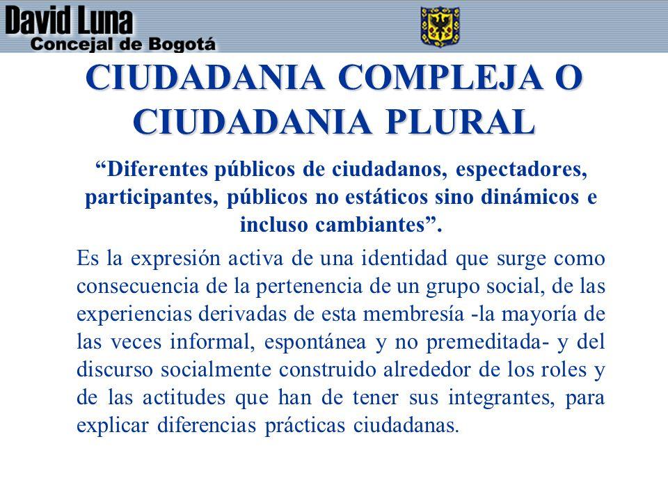 CIUDADANIA COMPLEJA O CIUDADANIA PLURAL Diferentes públicos de ciudadanos, espectadores, participantes, públicos no estáticos sino dinámicos e incluso