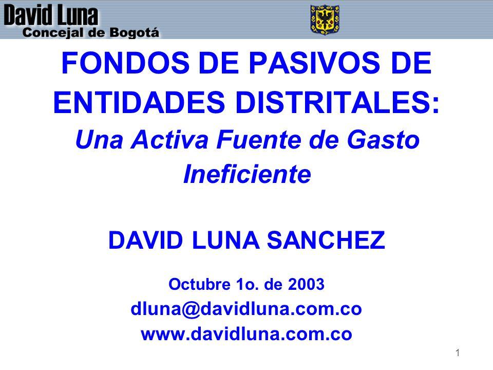 1 FONDOS DE PASIVOS DE ENTIDADES DISTRITALES: Una Activa Fuente de Gasto Ineficiente DAVID LUNA SANCHEZ Octubre 1o.